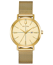 Bulova Women's Aero Jet Gold-Tone Stainless Steel Mesh Bracelet Watch 34.7mm