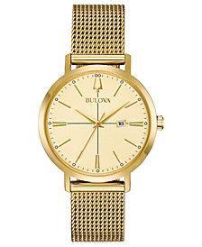Bulova Women's Aero Jet Gold-Tone Stainless Steel Mesh Bracelet Watch 34.7mm