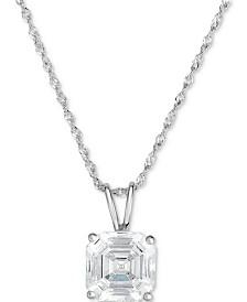 """Arabella Swarovski Zirconia 18"""" Pendant Necklace in 14K White Gold"""