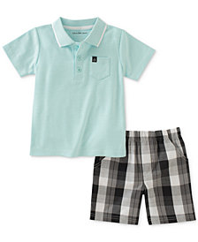Calvin Klein 2-Pc. Polo & Plaid Shorts Set, Baby Boys