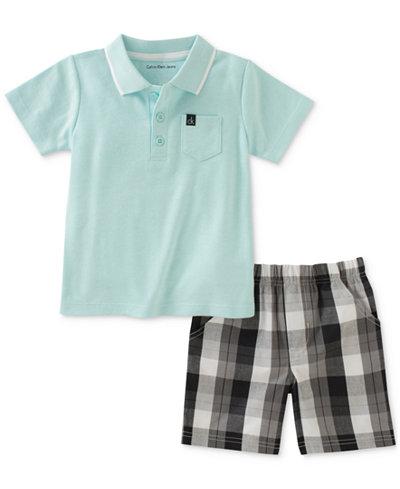 Calvin Klein 2-Pc. Polo & Plaid Shorts Set, Baby Boys
