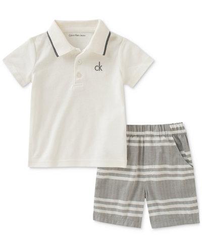 Calvin Klein 2-Pc. Polo & Striped Shorts Set, Baby Boys