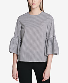 Calvin Klein Striped Bell-Sleeve Top