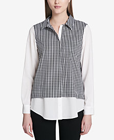Calvin Klein Gingham-Print Layered-Look Shirt