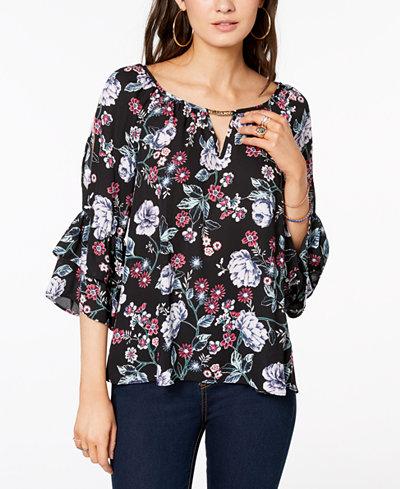 BCX Juniors' Floral-Print Bell-Sleeve Top