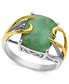 14k Gold and Sterling Silver Ring, Jade Rectangle (10-12mm)