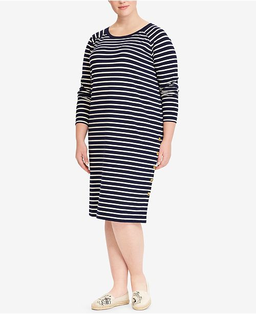drop shipping free shipping search for original Lauren Ralph Lauren Plus Size Striped T-Shirt Dress ...
