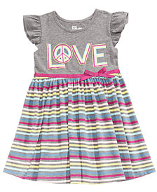 Epic Threads Striped Flutter Sleeve Dress, Little Girls, Created for Macy's