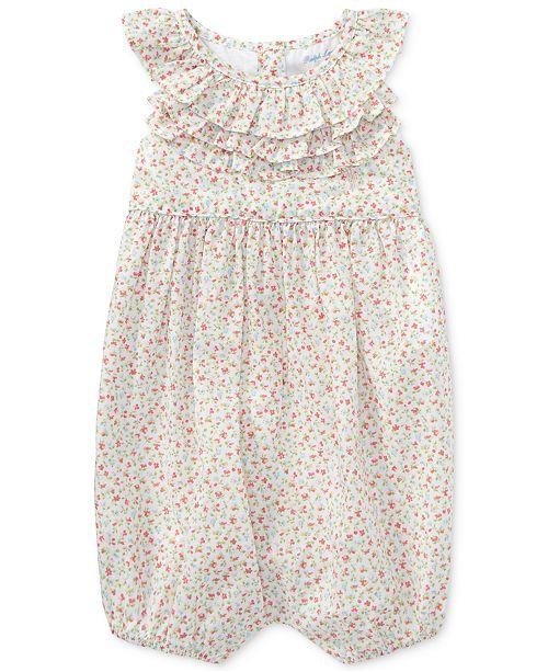 Polo Ralph Lauren Ralph Lauren Floral Ruffled Cotton Romper, Baby Girls