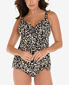 Miraclesuit Cat Walk Printed Underwire D-Cup Bra Sized Tankini Top & Bikini Briefs