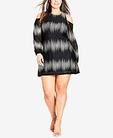 City Chic Trendy Plus Size Cold-Shoulder A-Line Dress