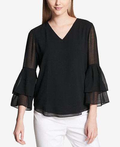 Calvin Klein Tiered Bell-Sleeve Top