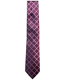 Alfani Men's Check Silk Slim Tie, Created for Macy's