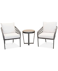 CLOSEOUT! Key Largo Aluminum Outdoor 3-Pc. Seating Set (2 Accent Chairs & 1 End Table) with Sunbrella® Cushions, Created for Macy's