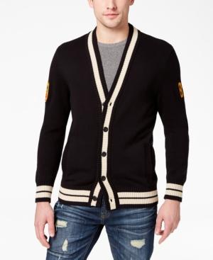 Men's Vintage Sweaters – 1920s to 1960s Retro Jumpers American Rag Mens Varsity Cardigan Created for Macys $42.00 AT vintagedancer.com