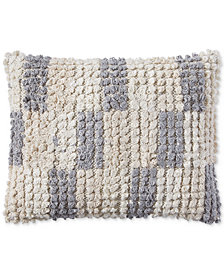 "Lucky Brand Tuft Check 16"" x 20"" Decorative Pillow, Created for Macy's"