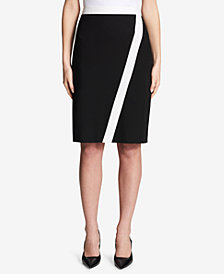 Calvin Klein Contrast-Trim Pencil Skirt, Regular & Petite