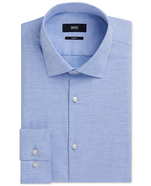 c3cb6a326 Hugo Boss BOSS Men's Slim-Fit Yarn-Dyed Oxford Cotton Dress Shirt ...