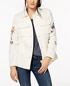 Floral Embroidered Cotton Shacket
