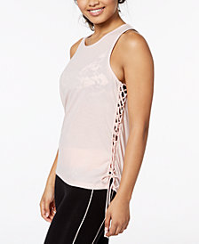 Material Girl Active Juniors' Lace-Up Tank Top, Created for Macy's