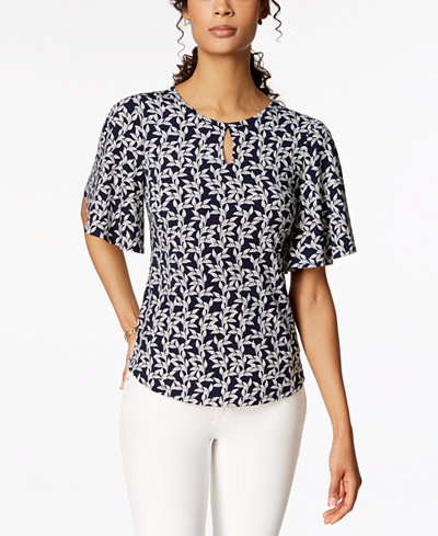Charter Club Petite Printed Keyhole Flutter-Sleeve Top, Created for Macy's