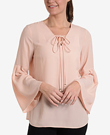 NY Collection Tie-Front Bell-Sleeve Blouse