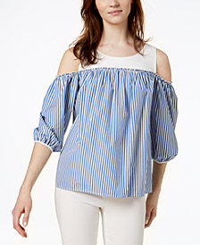 Weekend Max Mara Canasta Cotton Cold-Shoulder Top