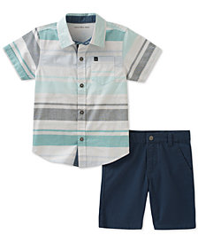 Calvin Klein 2-Pc. Woven Cotton Shirt & Shorts Set, Little Boys