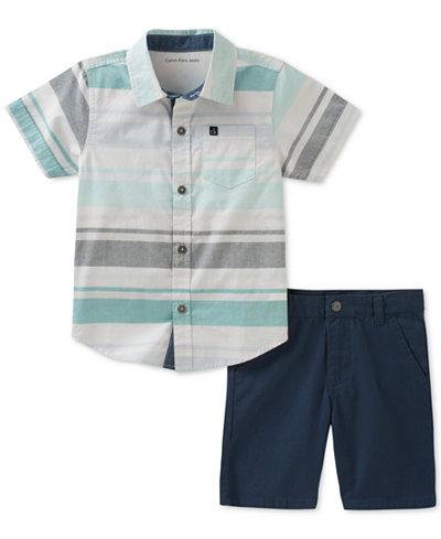Calvin Klein 2-Pc. Cotton Shirt & Shorts Set, Toddler Boys