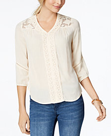 John Paul Richard Petite Lace-Yoke Crochet-Trim Top
