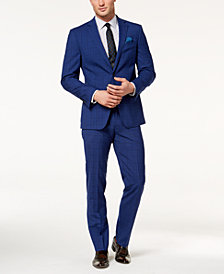 Tallia Orange Men's Slim-Fit Bright Blue Windowpane Suit