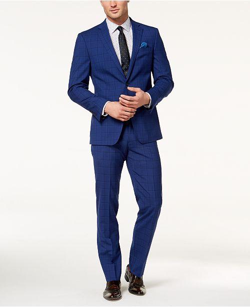 Tallia CLOSEOUT! Orange Men s Slim-Fit Bright Blue Windowpane Suit ... 248458dfe