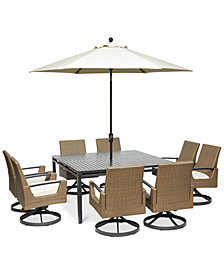 "CLOSEOUT! Genevieve Outdoor Aluminum & Wicker 9-Pc. Dining Set (62"" Square Dining Table and 8 Swivel Rockers) with Sunbrella® Cushions, Created for Macy's"
