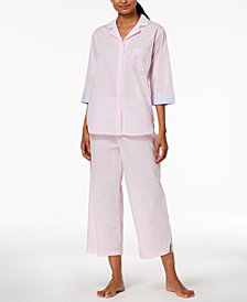 Miss Elaine Striped Cotton Pajama Set