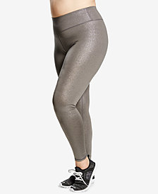Soffe Curvy Plus Size Metallic Compression Leggings