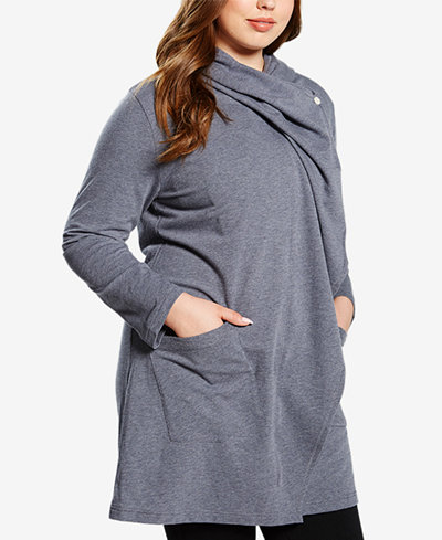 Soffe Curvy Plus Size Long Hooded Terry Jacket