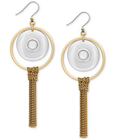 Lucky Brand Two-Tone Orbital Stone & Chain Fringe Drop Earrings