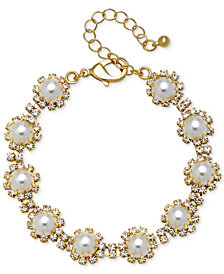 Jewel Badgley Mischka Gold-Tone Crystal & Imitation Pearl Link Bracelet