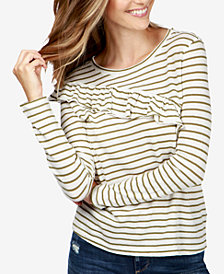 Lucky Brand Striped Ruffled Cotton Sweater