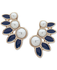 Ivanka Trump Gold-Tone Imitation Pearl & Blue Climber Earrings