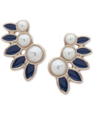 GOLD-TONE IMITATION PEARL & BLUE CLIMBER EARRINGS