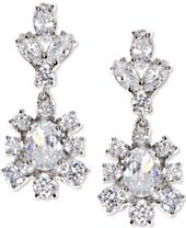 Marchesa Silver-Tone Cubic Zirconia Cluster Drop Earrings, Created for Macy's