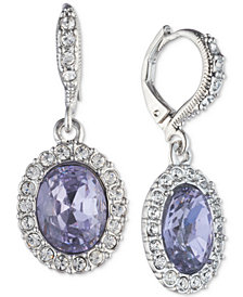 Givenchy Silver-Tone Crystal Oval Drop Earrings