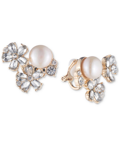 Carolee Gold-Tone Crystal & Imitation Pearl Cluster Clip-On Stud Earrings