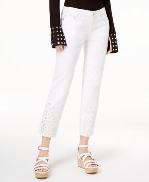 Michael Michael Kors Embellished-Cuff Cropped Jeans 6637511