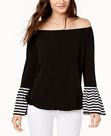 MICHAEL Michael Kors Petite Off-The-Shoulder Bell-Sleeve Top