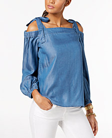 MICHAEL Michael Kors Tie-Strap Cold-Shoulder Top