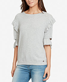 WILLIAM RAST Ruffled Cutout-Sleeve Sweatshirt