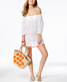 Miken Juniors'  Off-The-Shoulder Fringe Cover-Up, Created for Macy's