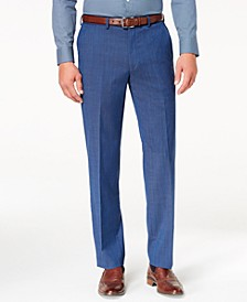 Men's Classic-Fit Airsoft Stretch Blue Solid Suit Pants